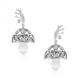 The Enticing Floral Silver Jhumkas