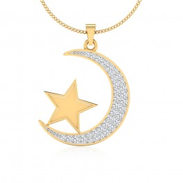 The Star Moon Silver Pendant