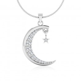 The Moon Stary Silver Pendant
