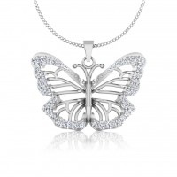 The Fusia Butterfly Silver Pendant