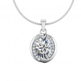 The Hearts Oval Solitaire Pendant