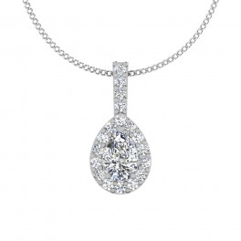 The Cross Pear Solitaire Pendant