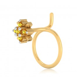 The Vivid Yellow Sapphire Nose Pin