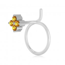 The Ziva Yellow Sapphire Nose Pin