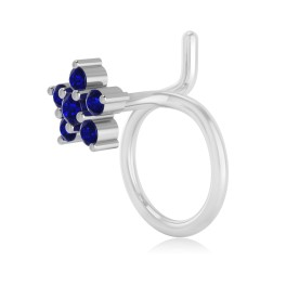The Flora Blue Sapphire Nose Pin
