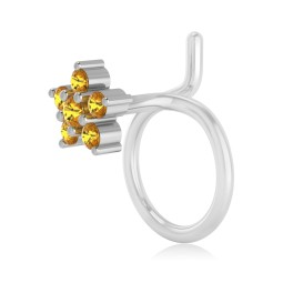 The Flora Yellow Sapphire Nose Pin