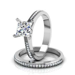 The Pinacle Solitaire Silver Ring Set