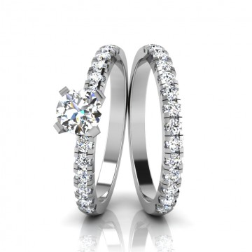 The Aleysia Solitaire Silver Ring Set